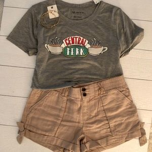 Linen Khaki Cuffed Shorts